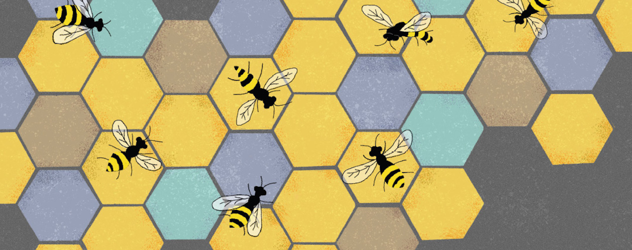 Graphic representation of a honeycomb with numerous bees on it, oriented in different directions.