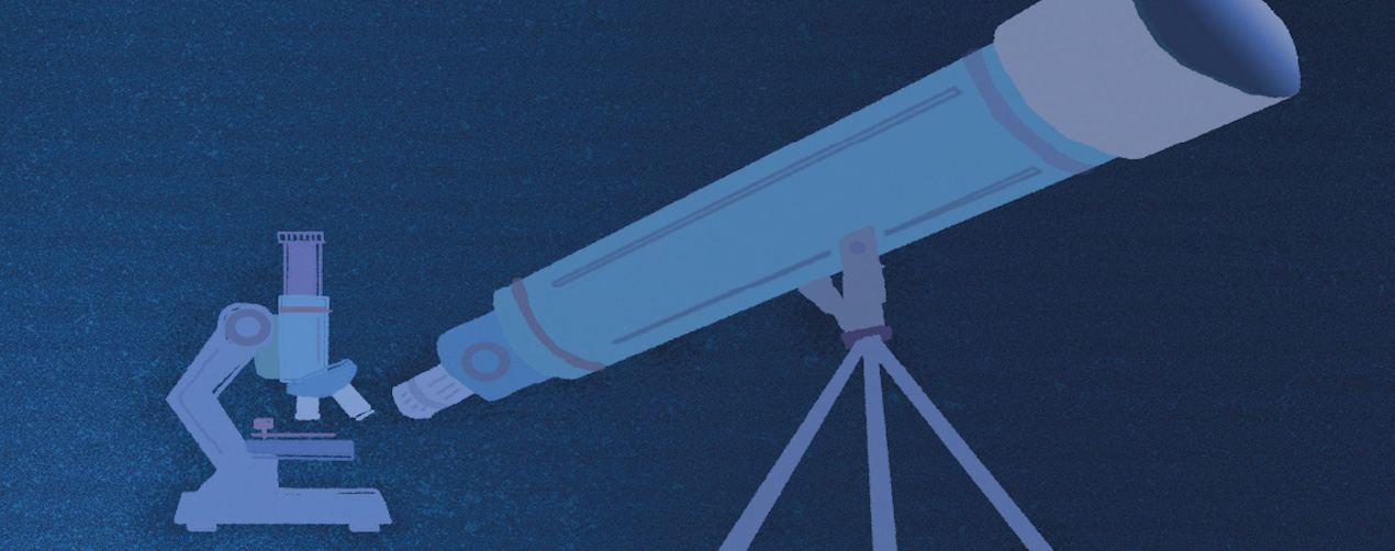 Graphic representation of a microscope and a telescope, both rendered in shades of blue, on a dark blue background
