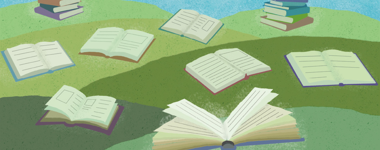 Graphic representation of many open books on grassy hills outdoors.