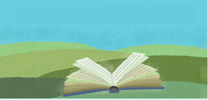 Painting of open book on grass outdoors