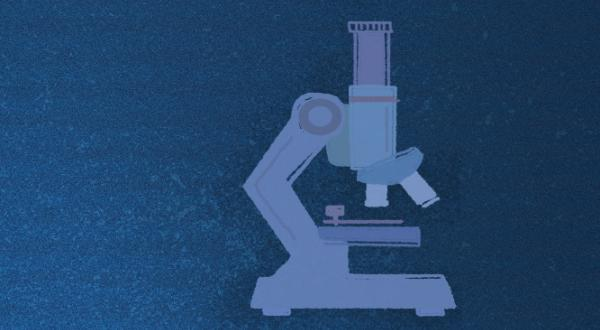 Graphic representation of a microscope on a blue background.